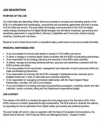 chief marketing officer job description sle 7