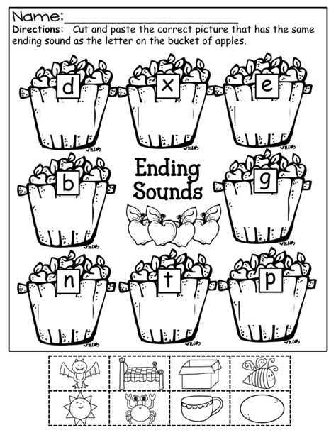 Beginning Sounds Cut And Paste Worksheets by Ending Sounds Color Cut And Paste Kinderland