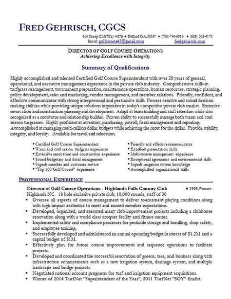 Golf Course Superintendent Sle Resume by Golf Course Superintendent Sle R