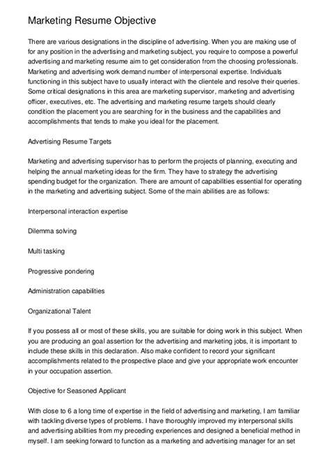 objectives for marketing resume suiteblounge com