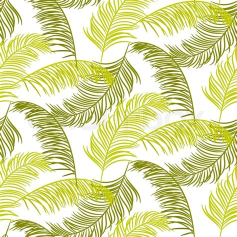 jungle pattern texture green palm leaves seamless vector pattern on white