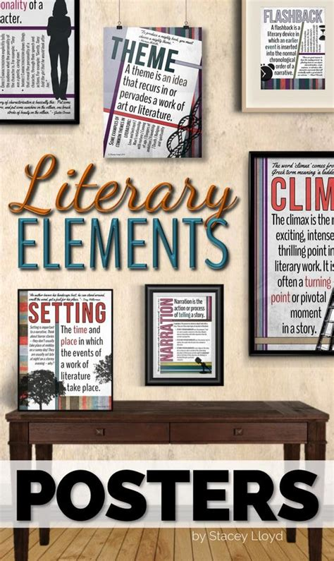 literature themes for high school literary elements posters high school classroom student