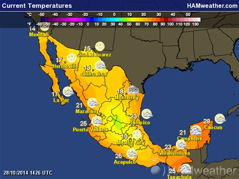 weather map usa and mexico mexican weather maps