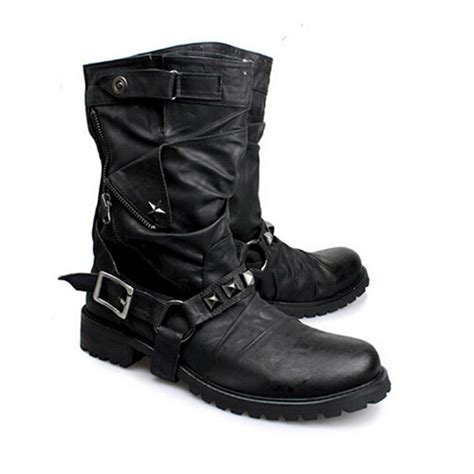 moto style boots british new style retro leather motorcycle boots rivets