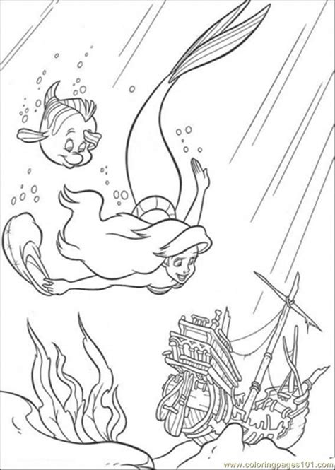 little mermaid swimming coloring pages coloring pages ariel and flounder are swimming together