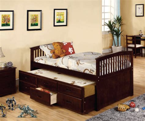 Solid Wood Trundle Bed With Drawers by Solid Wood Captain Bed With Trundle And Drawers