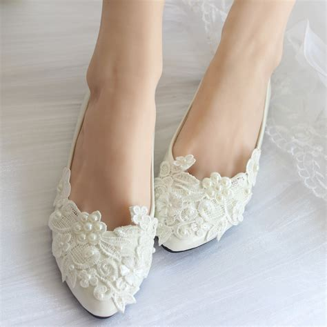 brautschuhe flacher absatz aliexpress buy pearl lace wedding shoes white