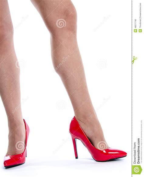 wearing high heel shoes