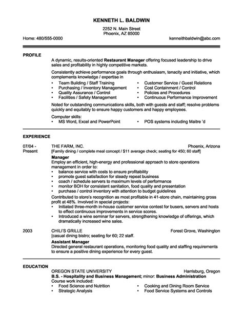 Manager Profile Resume by 14 Sle Restaurant Manager Resume Slebusinessresume