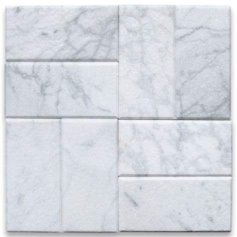 carrara white 3x6 subway tile tumbled subway shop by pattern shop direct
