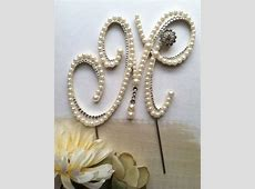 Ready To Purchase And Design Letter M Pearl Cake Topper ... M Monogram Wedding Cake Toppers