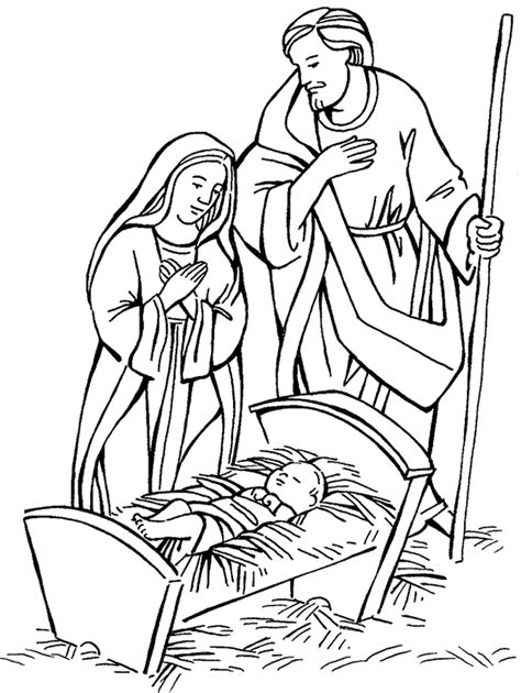 free coloring pages of jesus in a manger