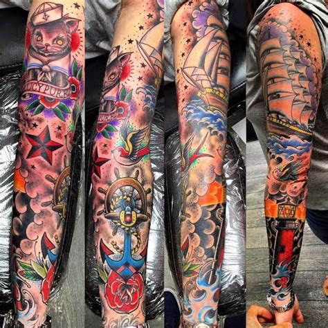 traditional sleeve tattoo traditional sleeve