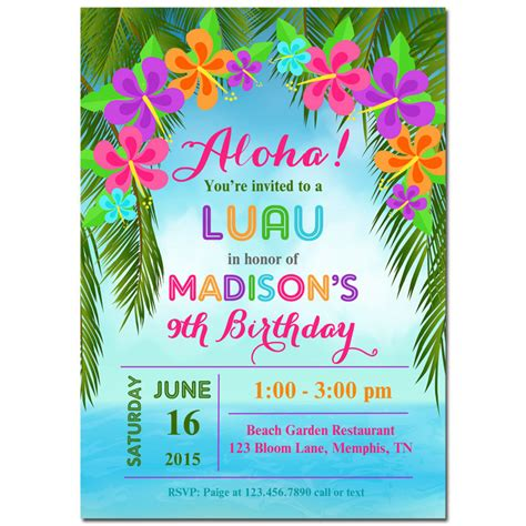 free printable birthday invitations luau luau invitation printable or printed with free shipping