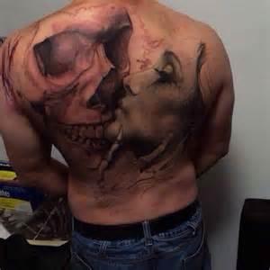 skull and woman tattoo portrait ideas tattoo designs