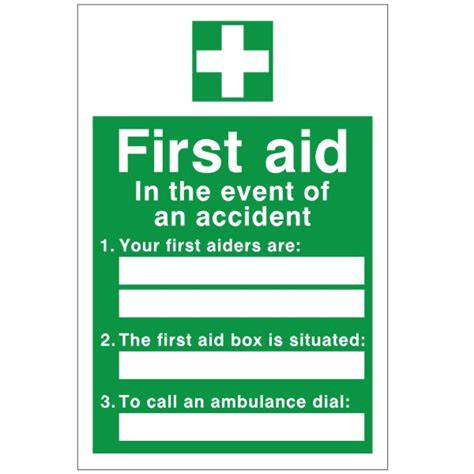 first aid in the event of an accident sign discount