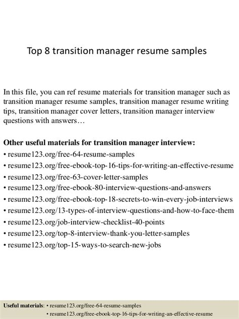 Transition Manager Sle Resume by Top 8 Transition Manager Resume Sles
