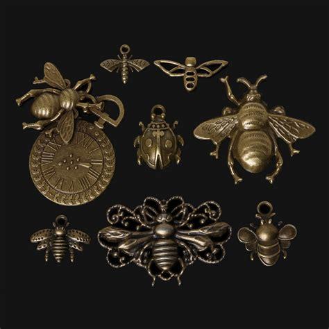 46pcs zinc alloy bee charms pendant antique bronze