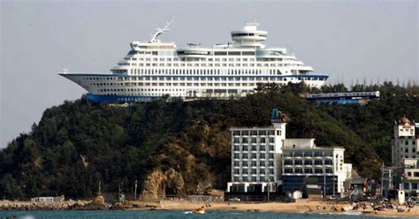 hotel shaped liked cruise ship on clifftop in south korea