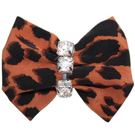 puppy hair bows leopard animal print hair bow clip
