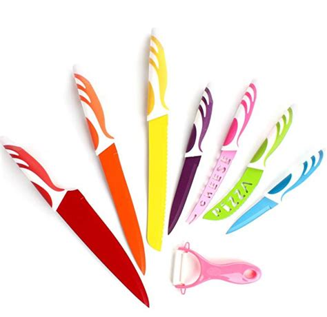 8 colorful stainless steel knife set