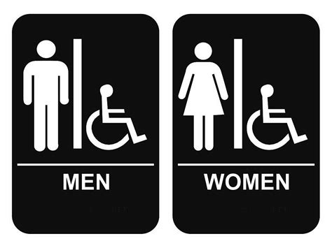 men and women bathroom sign ada braille men s women s handicap restroom sign set 6