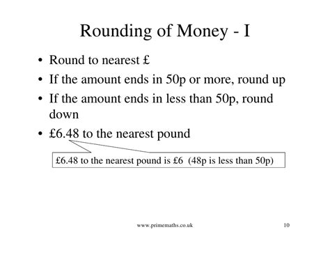 nearest pound decimals www primemaths co uk