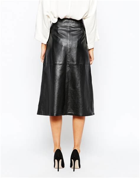 gestuz zola a line midi skirt in leather in black lyst