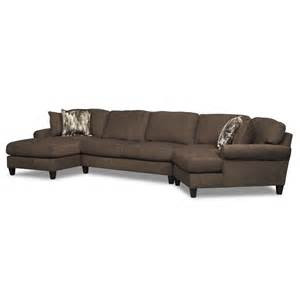 Sofa Value City Karma Smoke 3 Pc Sectional With Left Facing Chaise And