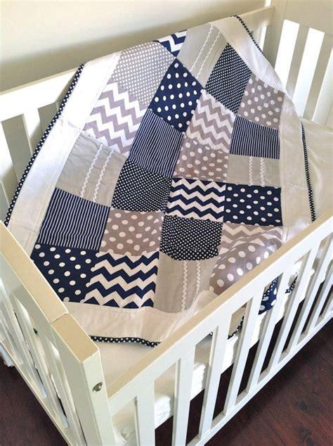 baby boy crib quilt in modern navy and by alphabetmonkey