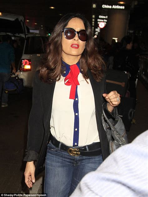 Salma Blouse salma hayek lands at lax in bow tie blouse and blue