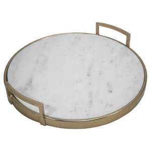 Target Threshold Bedding Round Gold And White Marble Serving Tray