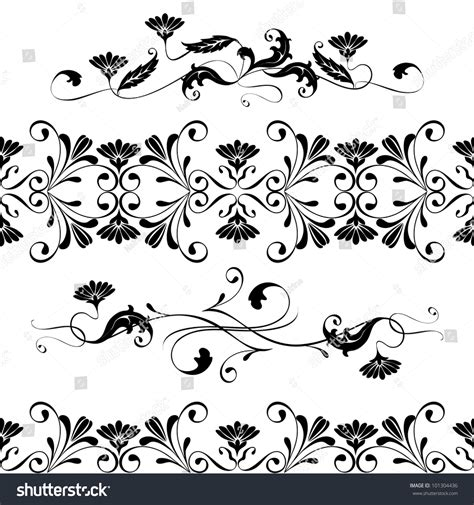 Wedding Borders Vector by Vector Set Swirling Decorative Floral Elements Stock