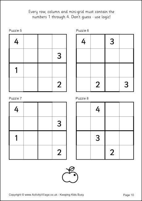 printable sudoku 4x4 sudoku for kids exle 4x4 puzzles busy work