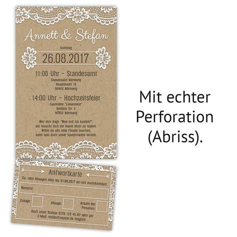 Hochzeitskarten Spitze by Hochzeitseinladungen Mit Antwortkarte Kraftpapier Spitze
