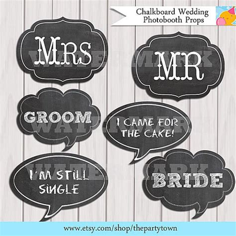 printable photo booth props engagement printable chalkboard wedding photobooth props by