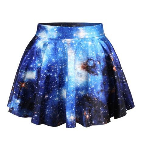 Blue Galaxy Print S M L Dress 44349 free ship blue galaxy print pleated mini skater skirt 1849970799 on luulla
