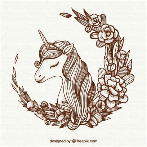 imagenes de unicornios en blanco y negro fondo de ilustraci 243 n de unicornio y corona floral