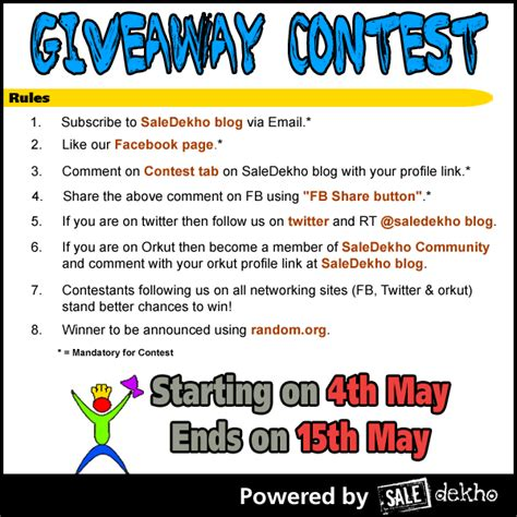 Giveaway Contest Rules Template - may 2010 freebie india