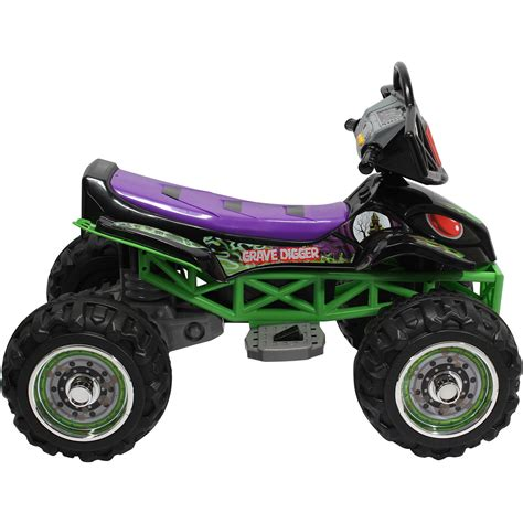 power wheels grave digger monster monster jam grave digger quad 12 volt battery powered ride