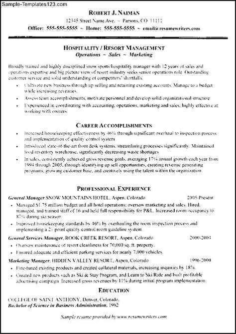 hospitality management resume sle sle templates