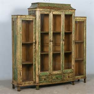 Glass Display Cabinet Antique Antique Green Bookcase Display Cabinet With Glass Doors