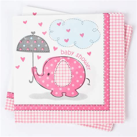 Pink Elephant Baby Shower by Elephant Print Baby Shower Napkins Pink Gettingpersonal