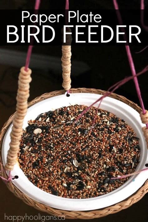 paper plate bird feeder for kids to make happy hooligans