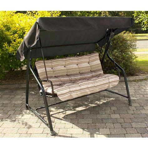 extra wide swing seat greenfingers padded 3 seater swing seat cappuccino stripe