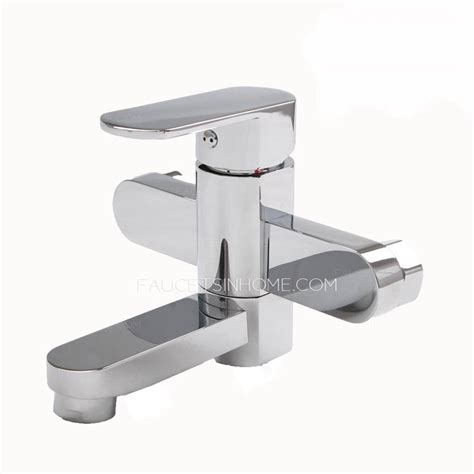 two wall bathtub decorated electroplated two holes wall mount bathtub faucets