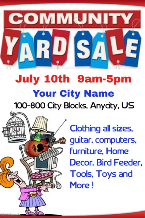templates for yard sale flyers community yard sale template postermywall