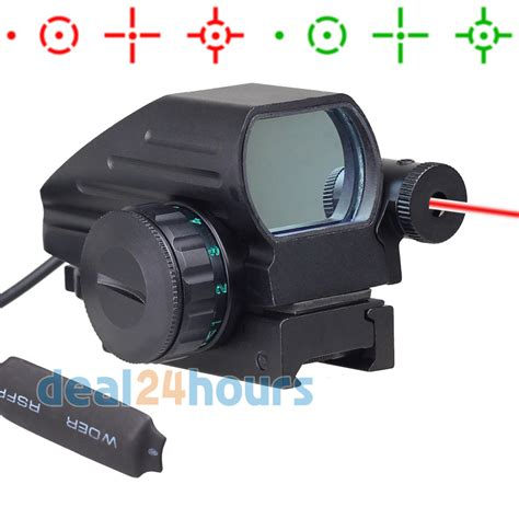 Green Dot W Laser tactical holographic reflex 4 reticles green dot sight scope w laser new free shipping