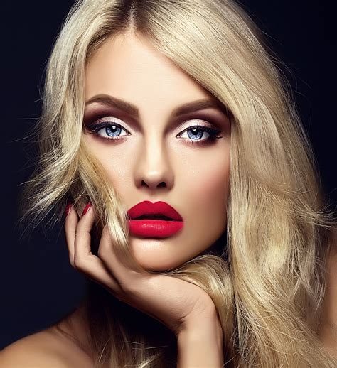 beautiful model hair and make up sensual glamour portrait of beautiful blond woman model