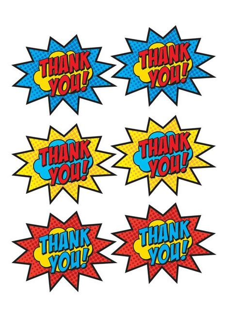 printable superhero stickers printed superhero thank you stickers by bsquareddesign on